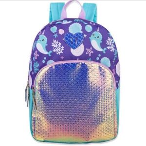 NWT Girls Holographic Narwhal Fashion Backpack